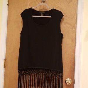 Women black fringe bottom sleeveless top